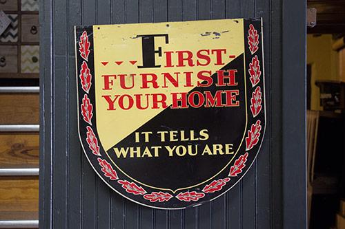 Historic sign at Wilk Furniture & Design in Random Lake