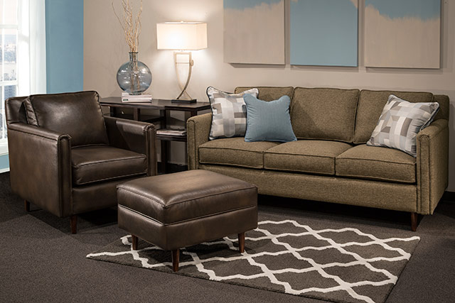 Marshfield contemporary sofa and leather chair with ottoman from Wilk Furniture & Design in Random Lake