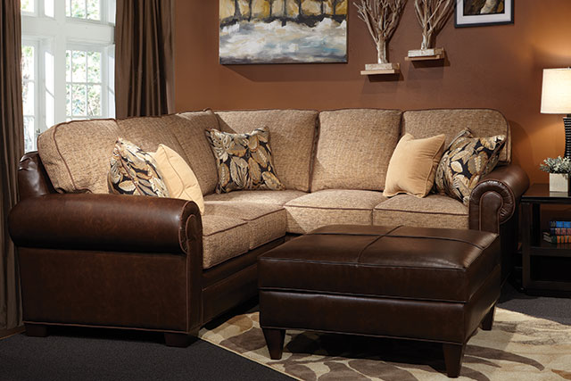 Marshfield sectional couch with leather ottoman from Wilk Furniture & Design in Random Lake