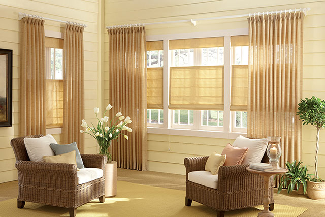 Graber Roman shades and curtains from Wilk Furniture & Design in Random Lake